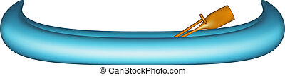 Canoe in blue design with paddle on white background