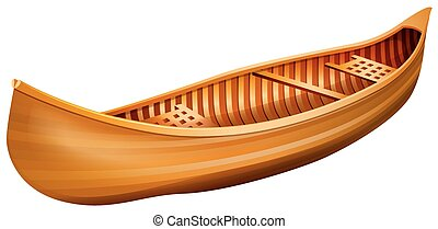 Wooden canoe in simple design