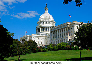 The United States Capitol is the capitol building that serves as the seat of government for the United States Congress, the legislative branch of the U.S. federal government. It is located in Washington, D.C., on top of Capitol Hill at the east end of the National Mall.