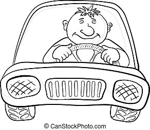 Cartoon, car with a man driver, contours on white. Vector