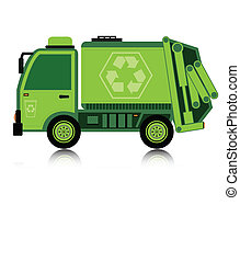 Garbage truck with a white background.