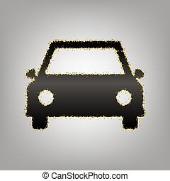 Car sign illustration. Vector. Blackish icon with golden stars