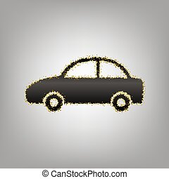 Car sign illustration. Vector. Blackish icon with golden stars a