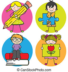 Card for education. Learning to write, draw, read, and play