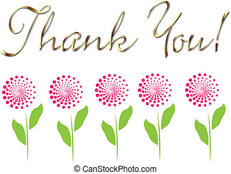 Card thank you in gold with flowers