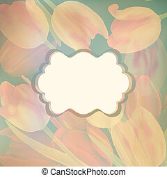 Card with beautiful yellow tulips. EPS 10