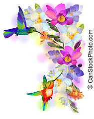 Card with flowers and humming-birds