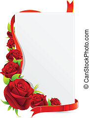 illustration of card with rose and roses on white background