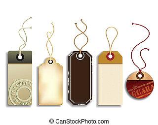 Vector set representing five realistic trendy cardboard sales tags.