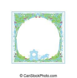 carriage- vintage floral card