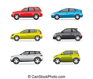 Cars icons set isolated on white background, no transparencies.