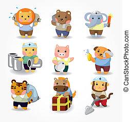 cartoon animal worker icon set