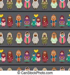 cartoon Arabian people seamless pattern