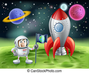 Cartoon astronaut and vintage rocket
