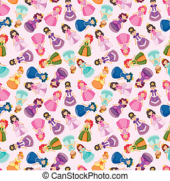 cartoon beautiful princess seamless pattern