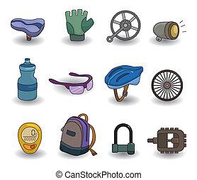 cartoon bicycle equipment icon set