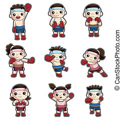 cartoon boxer icon set