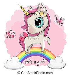 Cartoon Unicorn is on the rainbow