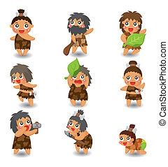 cartoon Caveman icon set, vector