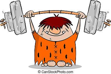 Cartoon caveman keeping fit by weight lifting