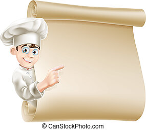 Illustration of a happy chef character pointing at a scroll maybe with a menu on it