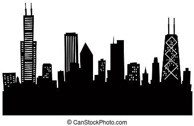 Cartoon skyline silhouette of Chicago, USA.