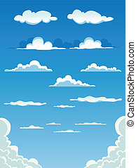 Vector illustration of a collection of various vector cartoon clouds on a blue sky background. Vector eps and high resolution jpeg files included
