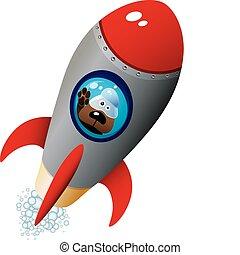 Cartoon Dog Astronaut In Old Style Spaceship