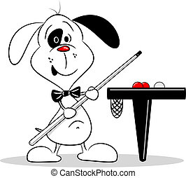 A cartoon dog with a snooker cue next to billiard table