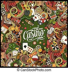 Cartoon doodles casino frame design