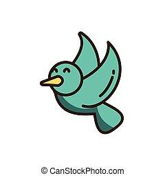 cartoon dove icon, colorful fill style