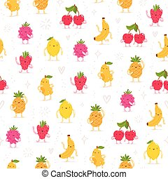 Cartoon fruit characters seamless pattern
