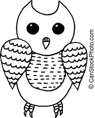 Cartoon funny owl coloring page