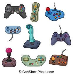 cartoon game joystick icon set