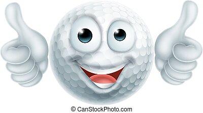 Cartoon Golf Ball Man Character