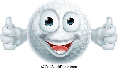 Cartoon Golf Ball Thumbs Up Man Character