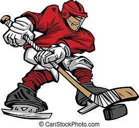Cartoon Vector of a Hockey Player Skating with Hockey Stick