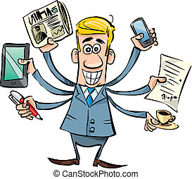 cartoon illustration of busy businessman with tablet, newspaper, smartphone, pen, coffee and agreement