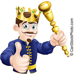 Illustration of a happy cartoon king holding a gold sceptre