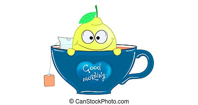 Cartoon lemon in a cup of tea. Vector illustration.
