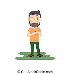 Cartoon man with gadget