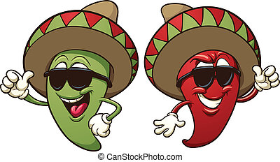 Cartoon mexican peppers