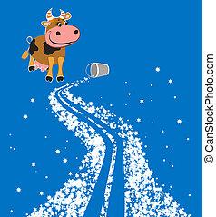 Cartoon milky way and cow