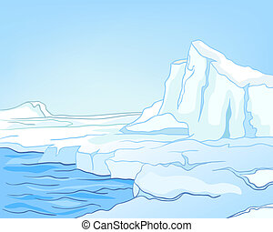 Cartoon Nature Landscape Arctic Isolated on White Background. Vector.