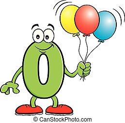 Cartoon number zero holding balloons.