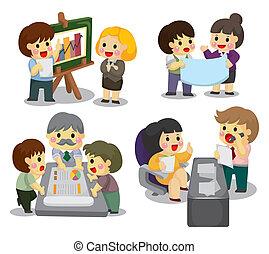 cartoon office worker icon set