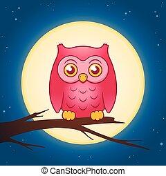 Cartoon owl with a full moon vector