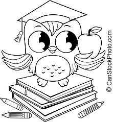 Cartoon owl with graduation hat, books and pencils. Vector black and white coloring page.