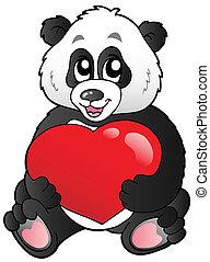 Cartoon panda holding red heart