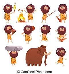 Cartoon primitive people, primitive caveman